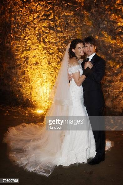 In this handout photo provided by Robert Evans Tom Cruise and Katie Holmes pose together at Castello Odescalchi on their wedding day November 18 2006...