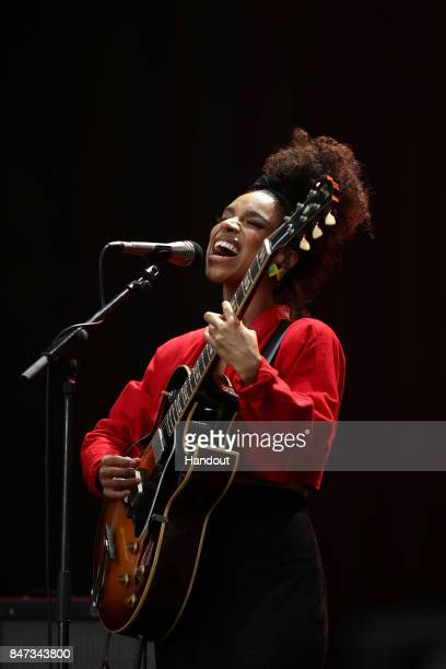 In this handout photo provided by Singapore GP Lianne La Havas performs on stage during day one of the Singapore Formula One Grand Prix at Marina Bay...