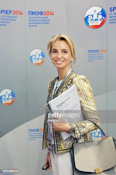 In this handout photo provided by Slava Korolev Global Strategic Consultant Corinna SaynWittgenstein attends the St Petersburg International Economic...