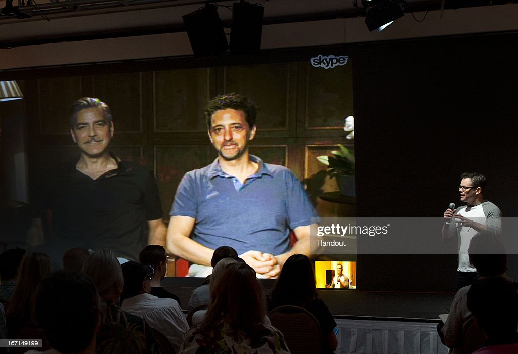 In this handout photo provided by Sony Pictures Entertainment George Clooney and Grant Heslov and Matt Damon participate in 'The Monuments Men' press...