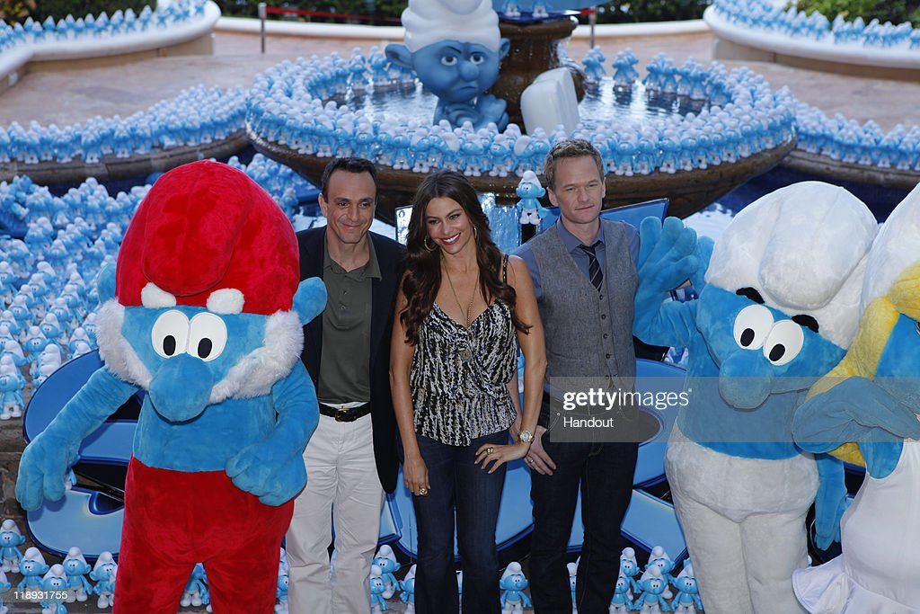In this handout photo provided by Sony Pictures Entertainment, Hank Azaria, <a gi-track='captionPersonalityLinkClicked' href=/galleries/search?phrase=Sofia+Vergara&family=editorial&specificpeople=214702 ng-click='$event.stopPropagation()'>Sofia Vergara</a> and Neil Patrick Harris at 'The Smurfs' photocall at Summer of Sony 3 on July 10, 2011 in Cancun, Mexico.
