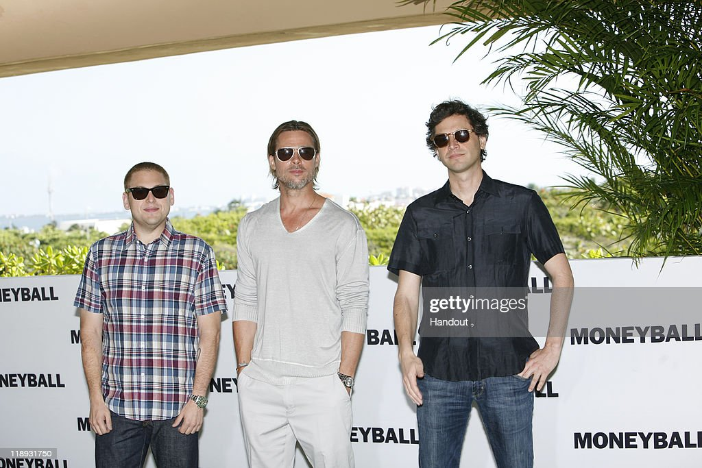 In this handout photo provided by Sony Pictures Entertainment, (L-R) <a gi-track='captionPersonalityLinkClicked' href=/galleries/search?phrase=Jonah+Hill&family=editorial&specificpeople=544481 ng-click='$event.stopPropagation()'>Jonah Hill</a>, <a gi-track='captionPersonalityLinkClicked' href=/galleries/search?phrase=Brad+Pitt+-+Actor&family=editorial&specificpeople=201682 ng-click='$event.stopPropagation()'>Brad Pitt</a> and director <a gi-track='captionPersonalityLinkClicked' href=/galleries/search?phrase=Bennett+Miller&family=editorial&specificpeople=584112 ng-click='$event.stopPropagation()'>Bennett Miller</a> attend the 'Moneyball' photocall at the Summer of Sony 3 on July 11, 2011 in Cancun, Mexico.