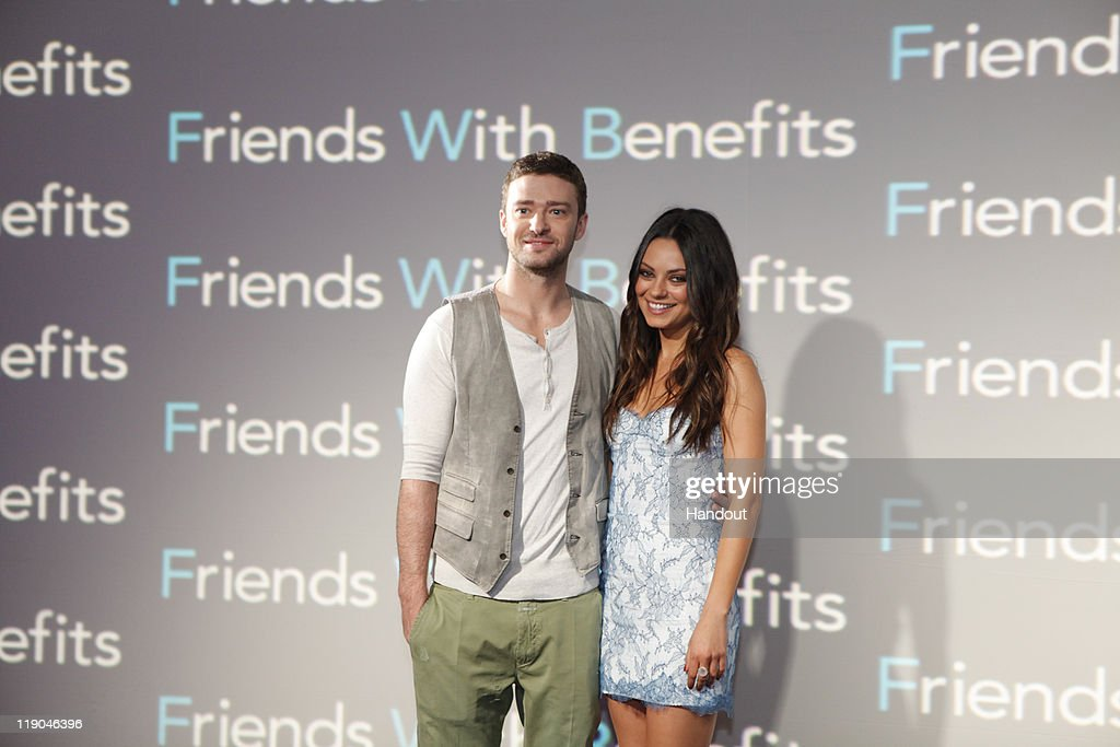 In this handout photo provided by Sony Pictures Entertainment, <a gi-track='captionPersonalityLinkClicked' href=/galleries/search?phrase=Justin+Timberlake&family=editorial&specificpeople=157482 ng-click='$event.stopPropagation()'>Justin Timberlake</a> and <a gi-track='captionPersonalityLinkClicked' href=/galleries/search?phrase=Mila+Kunis&family=editorial&specificpeople=212845 ng-click='$event.stopPropagation()'>Mila Kunis</a> attend the 'Friends With Benefits' photocall at Summer of Sony 3 on July 13, 2011 in Cancun, Mexico.