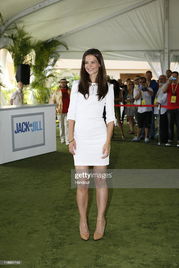 In this handout photo provided by Sony Pictures Entertainment, <a gi-track='captionPersonalityLinkClicked' href=/galleries/search?phrase=Katie+Holmes&family=editorial&specificpeople=201598 ng-click='$event.stopPropagation()'>Katie Holmes</a> attends the 'Jack and Jill' photocall at Summer of Sony 3 on July 10, 2011 in Cancun, Mexico.