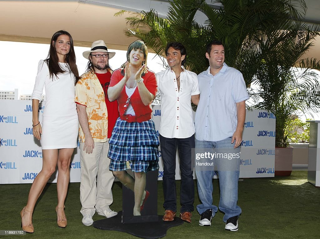 In this handout photo provided by Sony Pictures Entertainment, (L-R) <a gi-track='captionPersonalityLinkClicked' href=/galleries/search?phrase=Katie+Holmes&family=editorial&specificpeople=201598 ng-click='$event.stopPropagation()'>Katie Holmes</a>, Santiago Secura, <a gi-track='captionPersonalityLinkClicked' href=/galleries/search?phrase=Eugenio+Derbez&family=editorial&specificpeople=580445 ng-click='$event.stopPropagation()'>Eugenio Derbez</a> and <a gi-track='captionPersonalityLinkClicked' href=/galleries/search?phrase=Adam+Sandler&family=editorial&specificpeople=202205 ng-click='$event.stopPropagation()'>Adam Sandler</a> attend the 'Jack and Jill' photocall at Summer of Sony 3 on July 10, 2011 in Cancun, Mexico.
