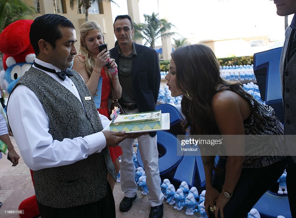 In this handout photo provided by Sony Pictures Entertainment, <a gi-track='captionPersonalityLinkClicked' href=/galleries/search?phrase=Sofia+Vergara&family=editorial&specificpeople=214702 ng-click='$event.stopPropagation()'>Sofia Vergara</a> celebrates her birthday at the 'The Smurfs' photocall at Summer of Sony 3 on July 10, 2011 in Cancun, Mexico on July 10, 2011 in Cancun, Mexico.