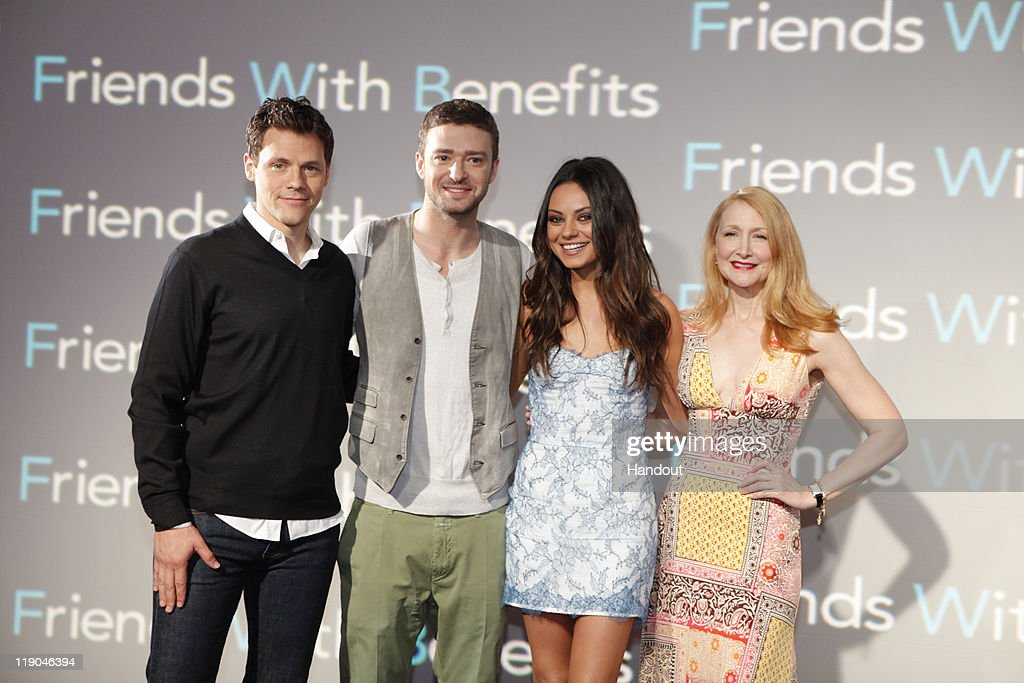 In this handout photo provided by Sony Pictures Entertainment, Director Will Gluck, <a gi-track='captionPersonalityLinkClicked' href=/galleries/search?phrase=Justin+Timberlake&family=editorial&specificpeople=157482 ng-click='$event.stopPropagation()'>Justin Timberlake</a>, <a gi-track='captionPersonalityLinkClicked' href=/galleries/search?phrase=Mila+Kunis&family=editorial&specificpeople=212845 ng-click='$event.stopPropagation()'>Mila Kunis</a> and <a gi-track='captionPersonalityLinkClicked' href=/galleries/search?phrase=Patricia+Clarkson&family=editorial&specificpeople=202994 ng-click='$event.stopPropagation()'>Patricia Clarkson</a> attend the 'Friends With Benefits' photocall at Summer of Sony 3 on July 13, 2011 in Cancun, Mexico.