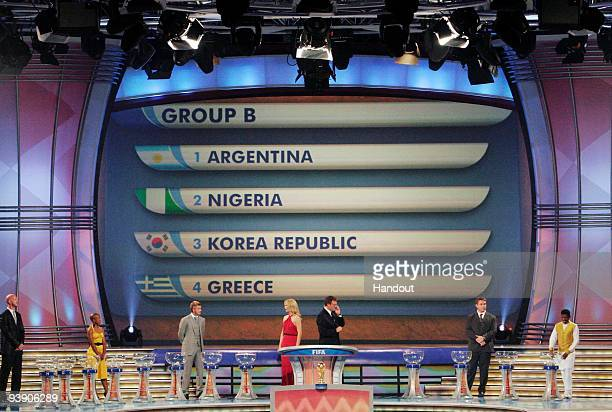 In this handout photo provided by the 2010 FIFA World Cup Organising Committee Group B showing Argentina Nigeria Korea Republic Greece during the...