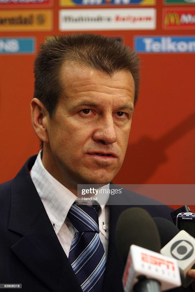 In this handout photo provided by the 2010 FIFA World Cup Organising Committee Brazilian coach Dunga at the Mixzone after the 2010 Soccer World Cup...