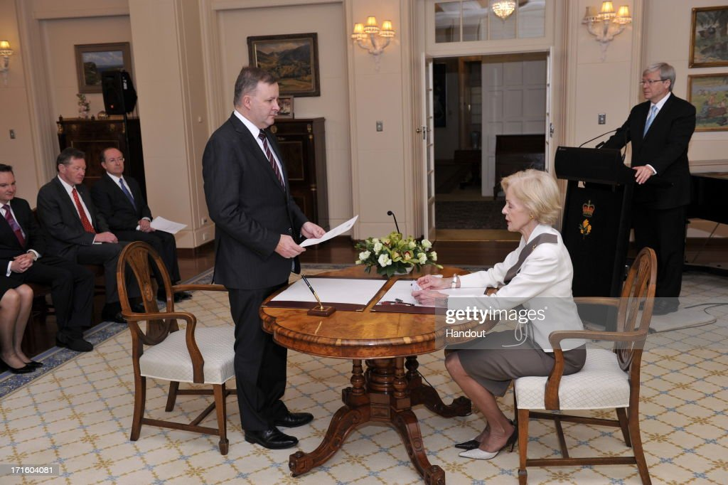In this handout photo provided by the AUSPIC, Anthony Alabanese is sworn in to the role of Deputy Prime Minister of Australia, by the Governor-General <a gi-track='captionPersonalityLinkClicked' href=/galleries/search?phrase=Quentin+Bryce&family=editorial&specificpeople=2602196 ng-click='$event.stopPropagation()'>Quentin Bryce</a> at Government House, on June 27, 2013 in Canberra, Australia. Kevin Rudd won an Australian Labor Party leadership ballot 57-45 last night, and was sworn in this morning as Australian Prime Minister by Governor-General <a gi-track='captionPersonalityLinkClicked' href=/galleries/search?phrase=Quentin+Bryce&family=editorial&specificpeople=2602196 ng-click='$event.stopPropagation()'>Quentin Bryce</a>. Rudd was Prime Minister from 2007 to 2010 before he was dumped by his party for his deputy Julia Gillard. Gillard has announced that she will leave parliament and not contest her seat following her ballot loss.