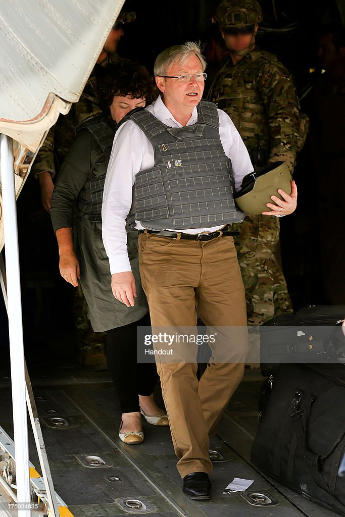 In this handout photo provided by the Australian Department of Defence Australian Prime Minister Kevin Rudd arrives at Multi National Base Tarin Kot...