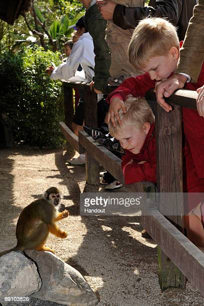 In this handout photo provided by the Belgian Royal Palace Princes Emmanuel and Gabriel of Belgium attend a Summer Photocall at Paradisio Park on...