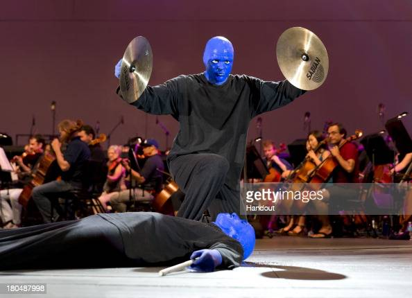 In this handout photo provided by the Blue Man Group the Blue Man Group performs their all new energyinfused show at the Hollywood Bowl on September...
