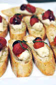 In this handout photo provided by the Cherry Marketing Institute Crostini with Sour Cherries