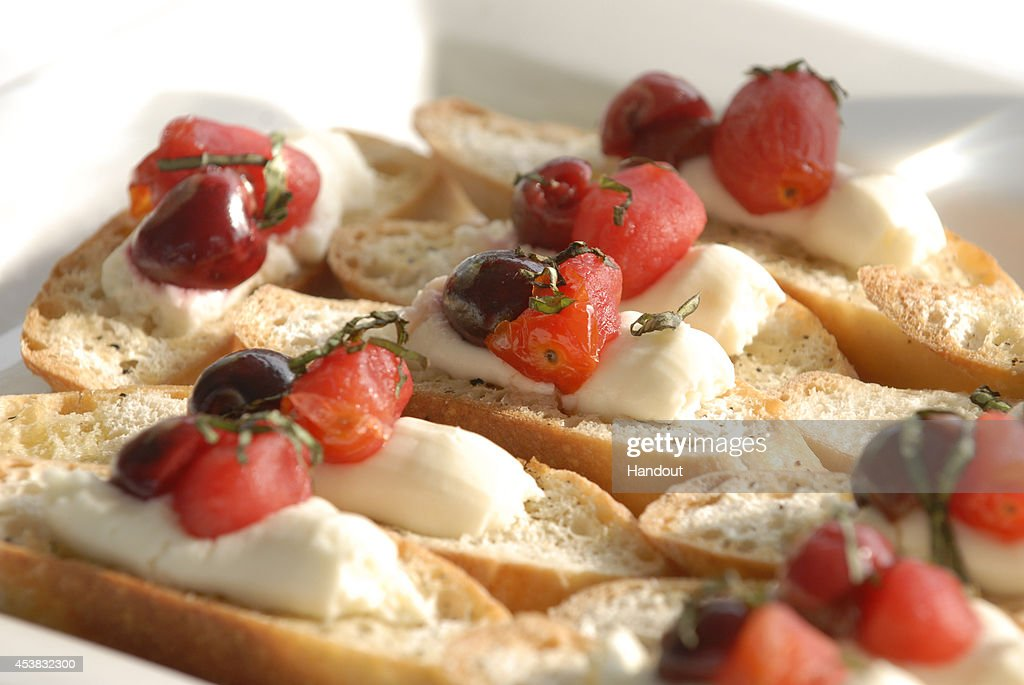 In this handout photo provided by the Cherry Marketing Institute Tart Cherry and Tomato Crostini
