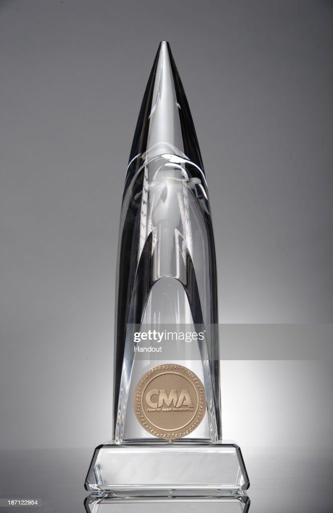 In this handout photo provided by the Country Music Association, the CMA Awards trophy is seen. The awards are made of hand-blow fine Italian crystal obelisk with beveled base and are handmade in Florence, Italy, with final assembly by Francis & Lusky in Nashville, Tennessee. They are given to winners of CMA Awards and CMA Broadcast Awards.