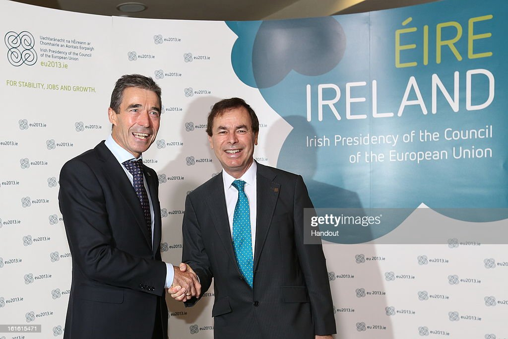 In this handout photo provided by the Dept of the Taoiseach, Ireland's Minister for Justice, Equality and Defence, <a gi-track='captionPersonalityLinkClicked' href=/galleries/search?phrase=Alan+Shatter&family=editorial&specificpeople=9457948 ng-click='$event.stopPropagation()'>Alan Shatter</a> TD (R) with <a gi-track='captionPersonalityLinkClicked' href=/galleries/search?phrase=Anders+Fogh+Rasmussen&family=editorial&specificpeople=549374 ng-click='$event.stopPropagation()'>Anders Fogh Rasmussen</a>, Secretary General of NATO at the Informal Meeting of EU Defence Ministers on February 13, 2013 in Dublin Castle, Dublin, Ireland.