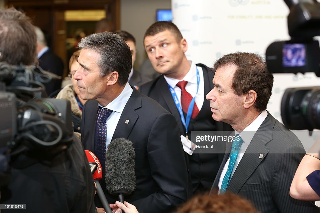 In this handout photo provided by the Dept of the Taoiseach, Ireland's Minister for Justice, Equality and Defence, Alan Shatter TD (R) with Anders Fogh Rasmussen, Secretary General of NATO at the Informal Meeting of EU Defence Ministers on February 13, 2013 in Dublin Castle, Dublin, Ireland.