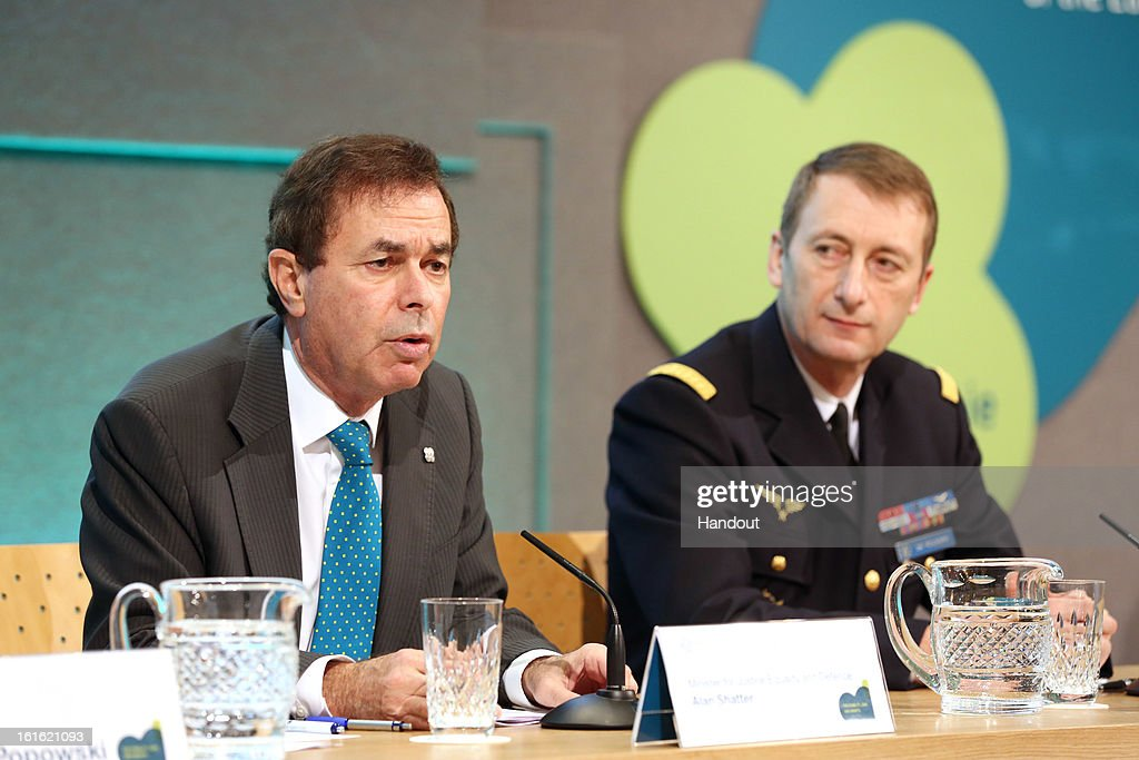 In this handout photo provided by the Dept of the Taoiseach, Ireland's Minister for Justice, Equality and Defence, Alan Shatter TD is pictured (L) with General Patrick de Rousiers, EUMC at a press conference at the Informal Meeting of EU Defence Ministers in Dublin Castle on February 13, 2013 in Dublin Castle, Dublin, Ireland.