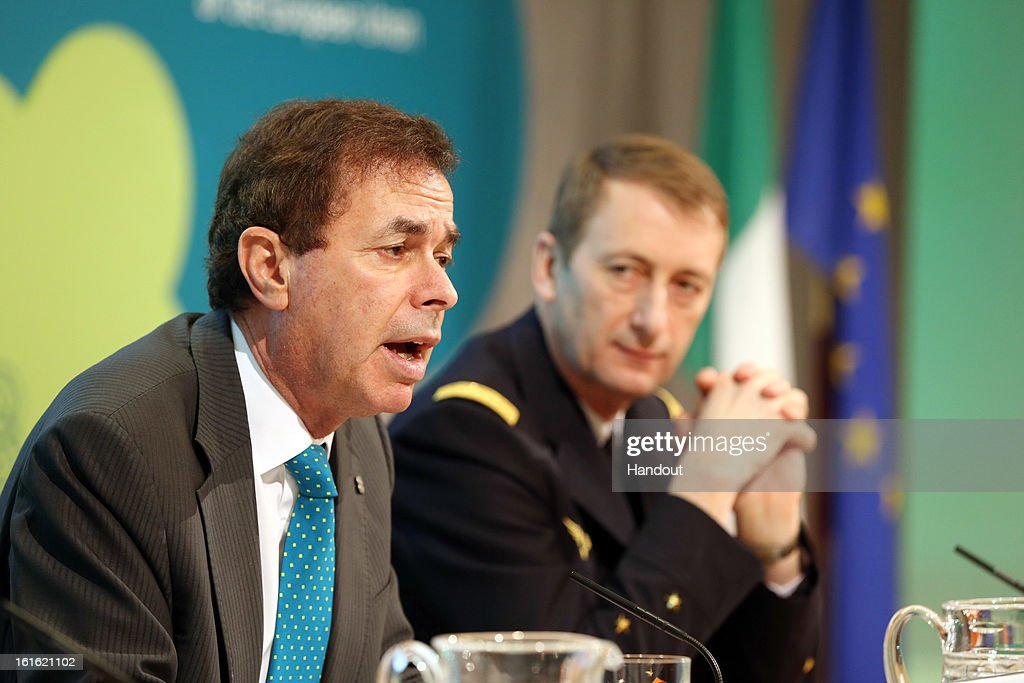 In this handout photo provided by the Dept of the Taoiseach, Ireland's Minister for Justice, Equality and Defence, <a gi-track='captionPersonalityLinkClicked' href=/galleries/search?phrase=Alan+Shatter&family=editorial&specificpeople=9457948 ng-click='$event.stopPropagation()'>Alan Shatter</a> TD is pictured (L) with General Patrick de Rousiers, EUMC at a press conference at the Informal Meeting of EU Defence Ministers in Dublin Castle on February 13, 2013 in Dublin Castle, Dublin, Ireland.