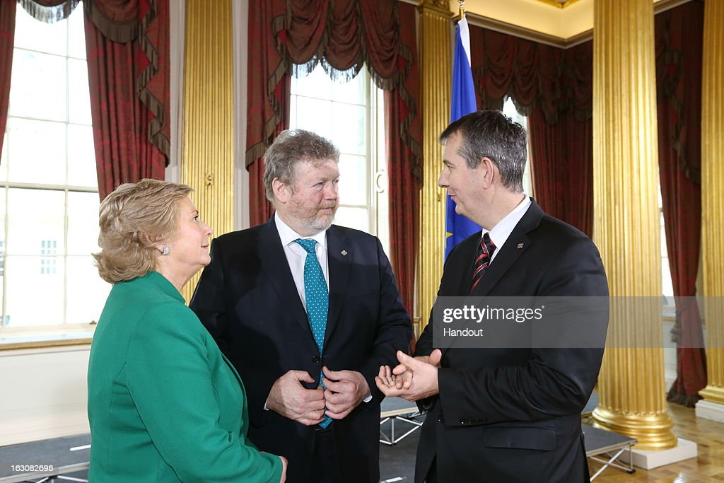 In this handout photo provided by the Dept of the Taoiseach, Ireland's Minister for Health Dr. James Reilly (C) is seen with Frances Fitzgerald Minister for Children (L) , and Edwin Poots MLA Minister for Health, Social Services and Public Safety in the Northern Ireland Executive (R) during the Informal meeting of health ministers in Dublin Castle on March 4, 2013 in Dublin, Ireland. Dr. James Reilly is hosting the Informal Meeting of Health Ministers on March 4 and 5, as part of the Irish Presidency of the Council of the European Union. The agenda will focus on tackling common interest health issues and what the Ministers can do to improve the health and wellbeing of their citizens.