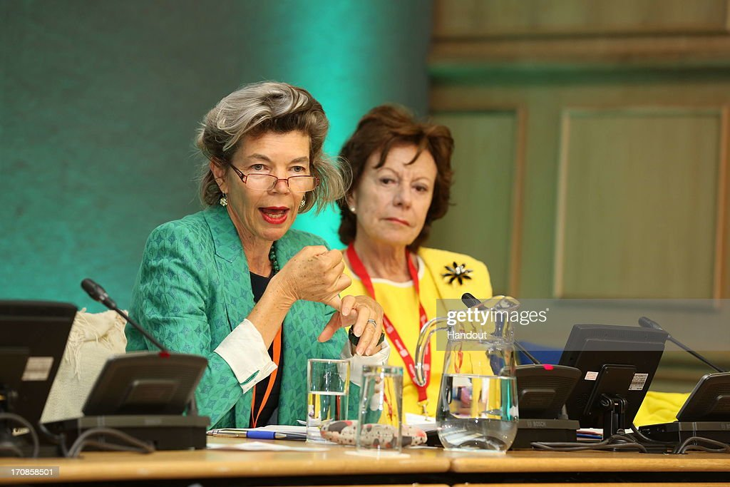 In this handout photo provided by the Dept of the Taoiseach Neelie Kroes Vice President European Commission in charge of Digital Agenda and Megan...