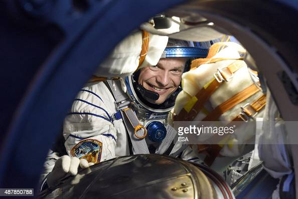 In this handout photo provided by the European Space Agency ESA astronaut Andreas Mogensen after landing along with Soyuz spacecraft commander...