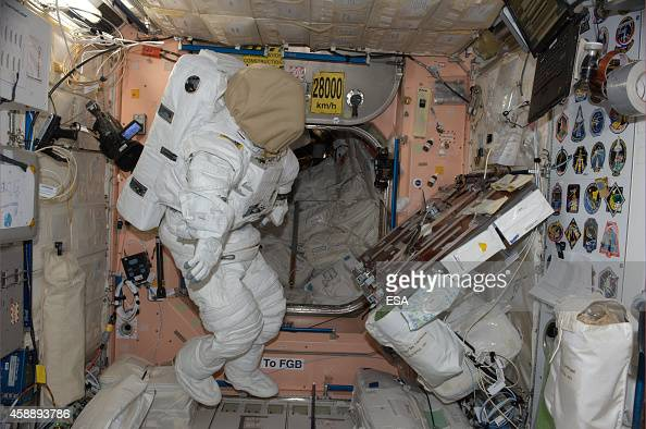 In this handout photo provided by the European Space Agency on October 31 German ESA astronaut Alexander Gerst took this image of a NASA spacesuit...