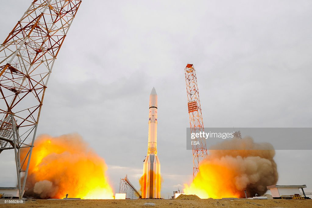 In this handout photo provided by the European Space Agency the ExoMars 2016 lifts off on a ProtonM rocket at Baikonur cosmodrome on March 14 2016 in...