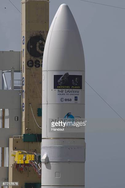 In this handout photo provided by the European Space Agency The Ariane 5 enclosing Herschel and Planck stands at the launch area on May 13 2009 at...