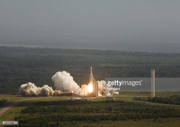 In this handout photo provided by the European Space Agency The Ariane 5 enclosing Herschel and Planck is launched on May 14 2009 at the European...