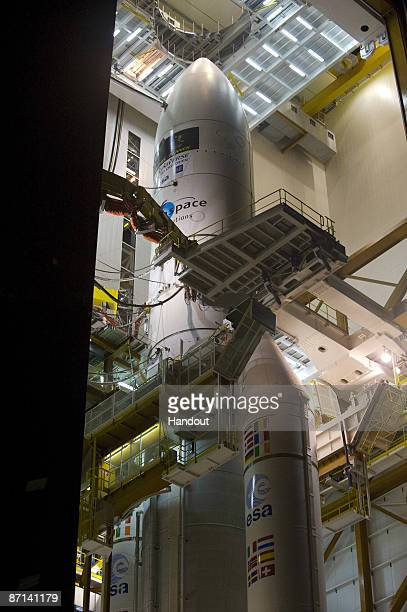In this handout photo provided by the European Space Agency The 'Herschel' and 'Planck' launcher is seen on May 12 2009 at the European Spaceport...