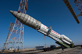 In this handout photo provided by the European Space Agency The Proton rocket that will launch the ExoMars 2016 spacecraft to Mars being moved into a...