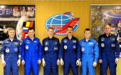 In this handout photo provided by the European Space Agency The Soyuz TMA15 crew Robert Thirsk Roman Romanenko Frank De Winne Chris Hadfield Dmitry...
