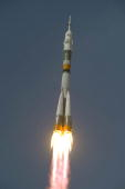 In this handout photo provided by the European Space Agency The Soyuz TMA15 launches at Baikonur Cosmodrome on May 27 2009 in Baikonur Kazakhstan The...
