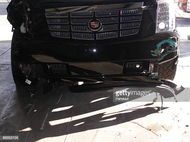 In this handout photo provided by The Florida Highway Patrol the vehicle driven by Tiger Woods during his accident is seen on December 2 2009 in...