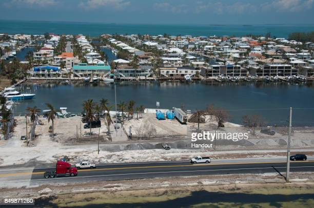 In this handout photo provided by the Florida Keys News Bureau Traffic rolls on a repaired section of the Florida Keys Overseas Highway on September...