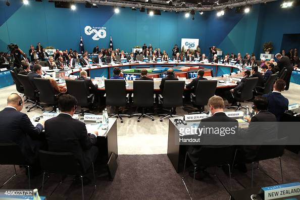 In this handout photo provided by the G20 Australia A general view of the Open Plennary Session at the G20 Leaders' Summit on November 15 2014 in...