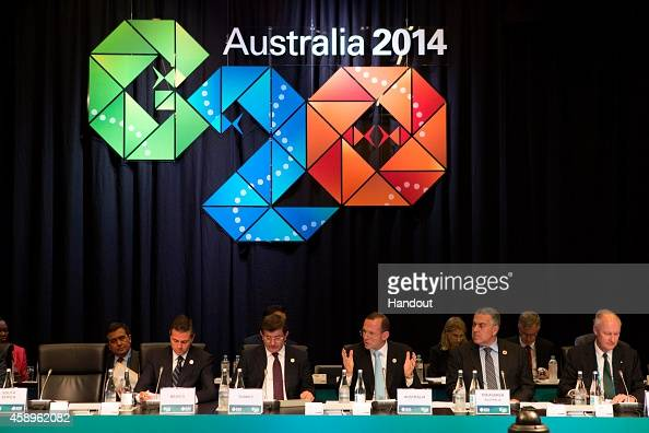 In this handout photo provided by the G20 Australia Australia's Prime Minister Tony Abbott addresses the B20 Leaders' Summit at the G20 Summit 2014...