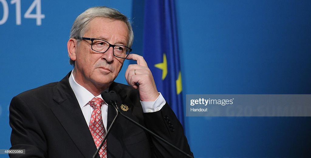 In this handout photo provided by the G20 Australia, European Commission President <a gi-track='captionPersonalityLinkClicked' href=/galleries/search?phrase=Jean-Claude+Juncker&family=editorial&specificpeople=207032 ng-click='$event.stopPropagation()'>Jean-Claude Juncker</a> speaks at a EC & EU press conference at the G20 Leaders Summit on November 15, 2014 in Brisbane, Australia. World leaders have gathered in Brisbane for the annual G20 Summit and are expected to discuss economic growth, free trade and climate change as well as pressing issues including the situation in Ukraine and the Ebola crisis.