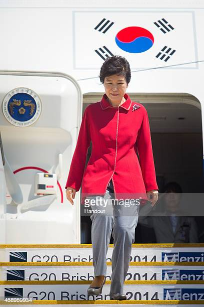 In this handout photo provided by the G20 Australia Republic of Korea's President Park Geunhye arrives at G20 Terminal on November 14 2014 in...