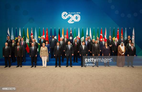 In this handout photo provided by the G20 Australia Russia's President Vladimir Putin South Africa's President Jacob Zuma France's President Francois...