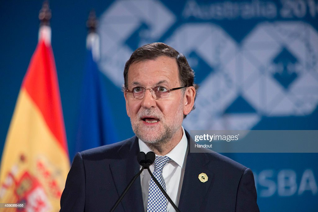 In this handout photo provided by the G20 Australia, Spain's President of the Government <a gi-track='captionPersonalityLinkClicked' href=/galleries/search?phrase=Mariano+Rajoy+Brey&family=editorial&specificpeople=551714 ng-click='$event.stopPropagation()'>Mariano Rajoy Brey</a> addresses the media at a press conference at the conclusion of the G20 Leaders Summit on November 16, 2014 in Brisbane, Australia. World leaders gathered in Brisbane for the annual G20 Summit and discussed economic growth, free trade and climate change as well as pressing issues including the situation in Ukraine and the Ebola crisis.