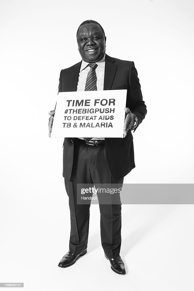 In this handout photo provided by The Global Fund, Zimbabwean Prime Minister Morgan Tsvangirai poses for a photo at The Global Fund's Big Push campaign at the opening of the World Economic Forum Anual Meeting on January 22, 2013 in Davos, Switzerland.