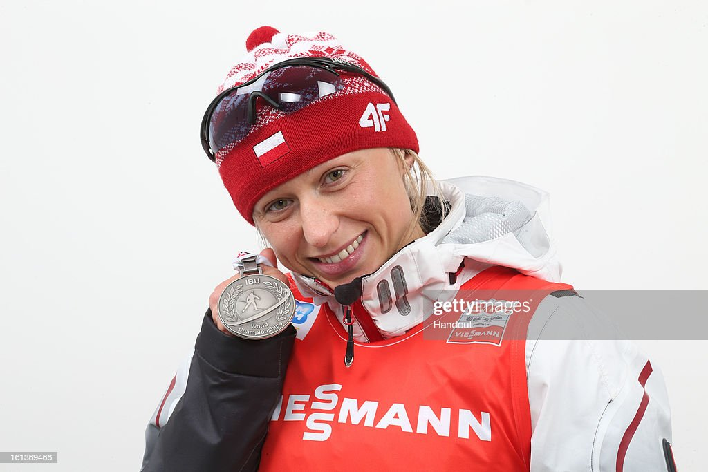 In this handout photo provided by the IBU, Krystyna Palka of Poland takes shows here 2nd place medal during the IBU Biathlon World Championship Women's 10km Pursuit on February 10, 2013 in Nove Mesto, Czech Republic.