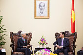 In this handout photo provided by the International Monetary Fund International Monetary Fund Managing Director Christine Lagarde meets with Prime...