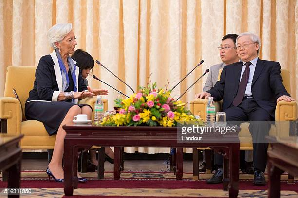 In this handout photo provided by the International Monetary Fund International Monetary Fund Managing Director Christine Lagarde meets with General...