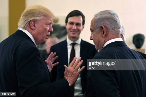 In this handout photo provided by the Israel Government Press Office US President Donald J Trump and White House senior adviser Jared Kushner meet...