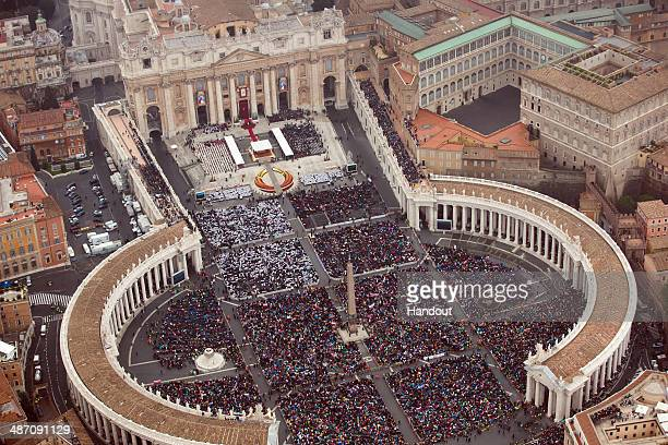 In this handout photo provided by the Italian National Police an aerial view of St Peter's Square is seen as Pope Francis leads a Canonization Mass...