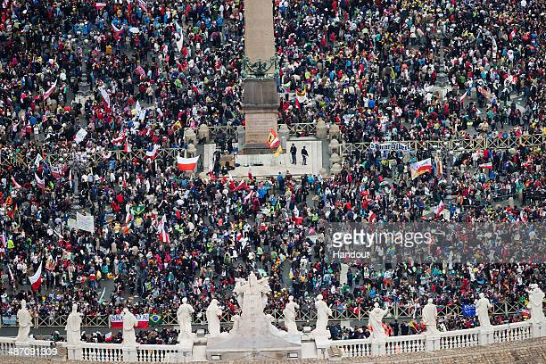 In this handout photo provided by the Italian National Police an aerial view of St Peter's Square and Via della Conciliazione is seen as Pope Francis...